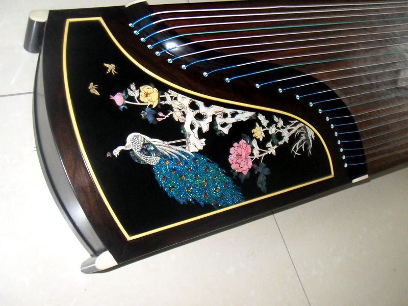 苏州伟和乐器厂雕刻 玫瑰凤凰古筝 考级 演奏红木古筝